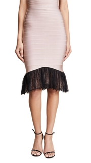 Herve Leger Lace Trim Midi Skirt