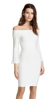Herve Leger Bell Sleeve Off the Shoulder Dress