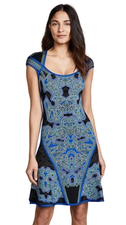 Herve Leger Scoop Neck Printed Dress