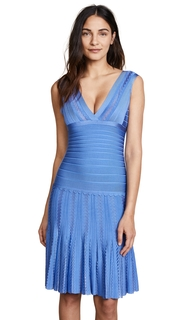 Herve Leger V Neck Pleated Dress