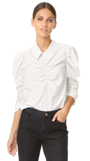 Isa Arfen Gathered Puff Sleeve Shirt