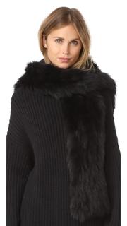 Jocelyn Fur Hooded Scarf With Pockets