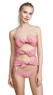 Lisa Marie Fernandez Triple Poppy Red Seersucker One Piece Swimsuit
