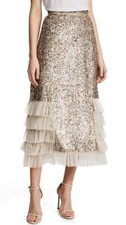 Rodarte Metallic Sequin Ruffle Skirt