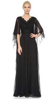 Reem Acra Silk Chiffon Cowl Front Gown