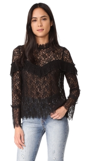 Saylor Mariella Pleated Lace Top