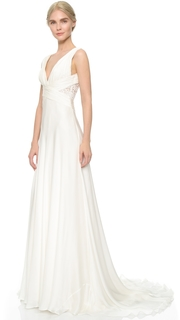 Theia Ruched Chiffon Gown