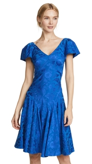 Zac Posen V Neck Flutter Sleeve Midi Dress