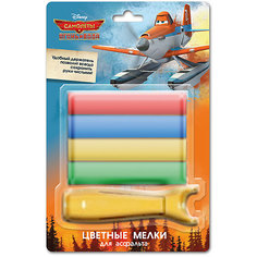 Мел (4 шт) для асфальта с держателем, Disney Самолеты Limpopo
