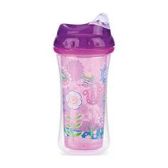 """Поильник с силиконовым носиком-непроливайкой """"Цветы"""", Nuby, фиолетовый"""