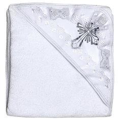 Крестильное полотенце с уголком 90*90, NewBorn, белый/серебро