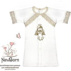 Крестильная рубашка с тесьмой, р-р 68, NewBorn, белый