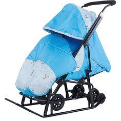 Санки-коляска ABC Academy Зимняя Сказка 1 Люкс, черная рама, голубой/олень