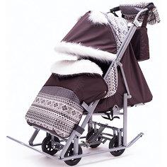 Санки-коляска ABC Academy Скандинавия 5УМ Люкс + ВК, серая рама, коричневый /серый