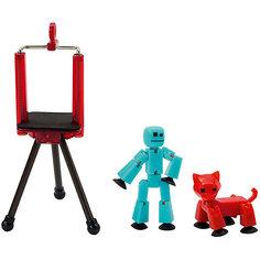 """Игровой набор Zing """"Stikbot"""" Студия с питомцем, Человечек с красной кошкой"""