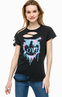 Рваная футболка с контрастным принтом Pinko