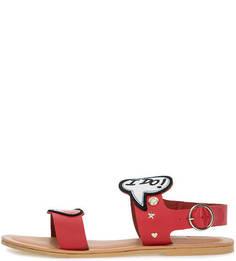 Кожаные сандалии с нашивками Love Moschino