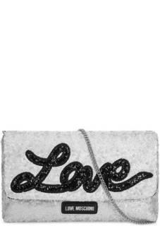 Текстильный клатч с отделкой пайетками Love Moschino