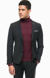 Черный пиджак с контрастной строчкой Cinque