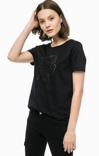 Черная футболка с принтом Karl Lagerfeld