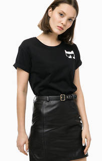 Хлопковая футболка с нагрудным карманом Karl Lagerfeld