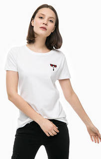 Белая футболка с нашивкой Karl Lagerfeld