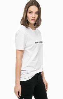 Белая хлопковая футболка с принтом Karl Lagerfeld