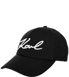 Черная хлопковая бейсболка с вышивкой Karl Lagerfeld