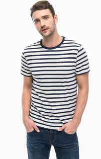 Серая хлопковая футболка в полоску Tommy Jeans
