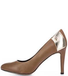 Кожаные туфли с золотистой вставкой Tommy Hilfiger
