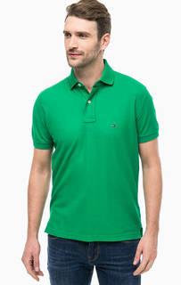Зеленая хлопковая футболка поло Tommy Hilfiger