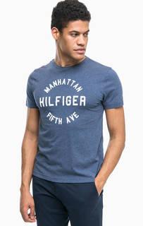 Синяя хлопковая футболка с нашивками Tommy Hilfiger