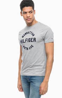 Серая хлопковая футболка с нашивками Tommy Hilfiger