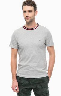 Серая хлопковая футболка с контрастными вставками Tommy Hilfiger