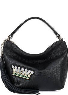 Маленькая кожаная сумка с вышивкой Curanni