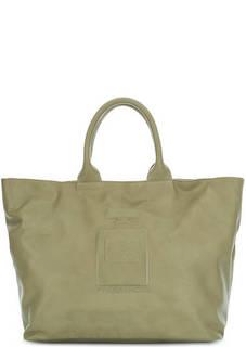 Вместительная сумка из натуральной кожи цвета хаки Io Pelle