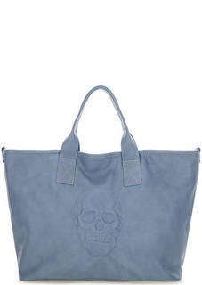 Синяя вместительная сумка из натуральной кожи Io Pelle