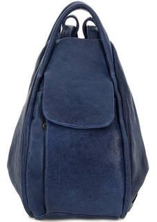 Кожаная сумка-рюкзак синего цвета Bruno Rossi
