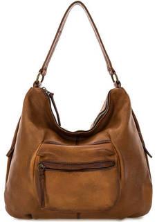 Коричневая кожаная сумка-рюкзак Bruno Rossi