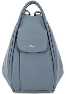 Синяя сумка-рюкзак из зерненой кожи Bruno Rossi