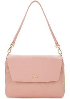 Розовая кожаная сумка со съемной ручкой Bruno Rossi