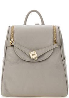 Серый рюкзак из зерненой кожи Bruno Rossi
