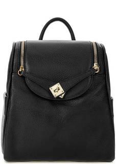 Черный рюкзак из зерненой кожи Bruno Rossi