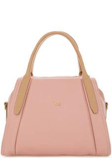 Розовая кожаная сумка с короткими ручками Bruno Rossi