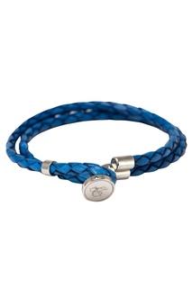 Голубой браслет из кожи Canali