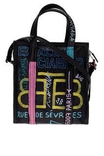 Кожаная сумка с принтом Graffiti Bazar XS Balenciaga