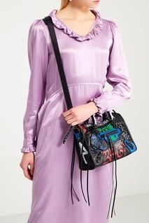 Кожаная сумка с принтом Graffiti Classic City Balenciaga