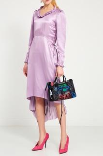 Шелковое платье с оборками Balenciaga