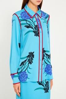 Шелковая блузка с васильками Diane von Furstenberg