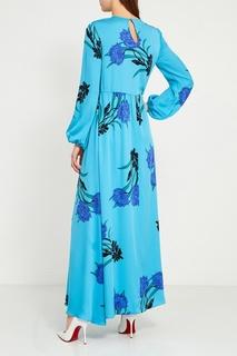Шелковое платье-макси с васильками Diane von Furstenberg